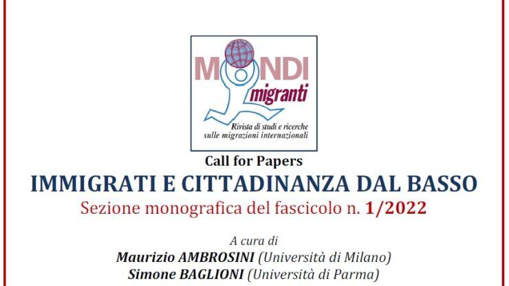 """Fascicolo Mondi Migranti 1/2022 """"IMMIGRATI E CITTADINANZA DAL BASSO"""" a cura di Maurizio Ambrosini e Simone Baglioni"""